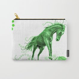 Playful Horse with Circles (green) Carry-All Pouch