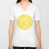 yellow pattern V-neck T-shirts featuring Yellow Chevron Pattern by Aloke Design