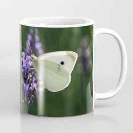 White Butterfly in a Lavender Field Coffee Mug