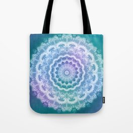 White Mandala on Teal, Purple and Navy Tote Bag