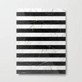 Marble Stripes Pattern 2 - Black and White Metal Print