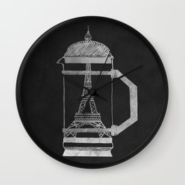 French Press... (Black & White) Wall Clock
