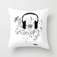 music notes Throw Pillows featuring Headphones and Music Notes by JuyoDesign