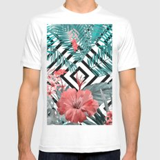 TROPICAL PATTERN White MEDIUM Mens Fitted Tee
