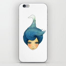 the girl with swan hair iPhone Skin