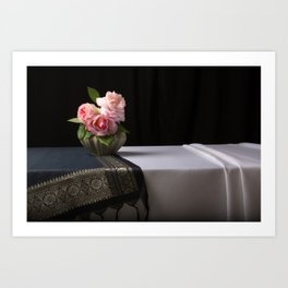 Roses and silk still life Art Print