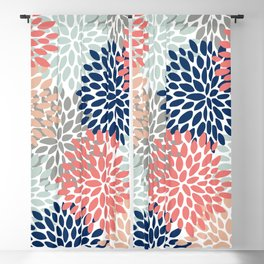 Floral Bloom Print, Living Coral, Pale Aqua Blue, Gray, Navy Blackout Curtain