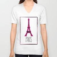 eiffel V-neck T-shirts featuring Eiffel by Vintage Fox