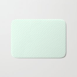 Mini Pale Summer Mint Green Pastel and White Candy Cane Stripes Bath Mat
