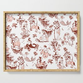 Classic Ruby Pink Zodiac-Inspired Toile Pattern Serving Tray