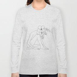 Minimal Line Art Nude Woman with Flowers Long Sleeve T-shirt