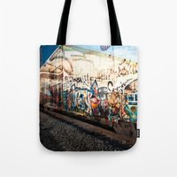 grafitti Tote Bags featuring Grafitti Train by Squint Photography
