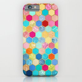 Patterned Honeycomb Patchwork in Jewel Colors iPhone Case