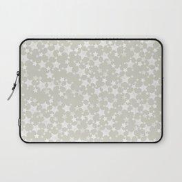 White Block Print Stars Pattern on Beige/Greige Laptop Sleeve