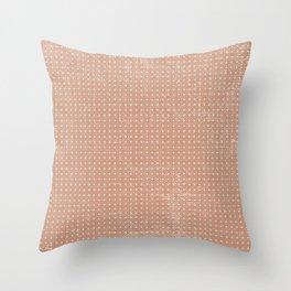 Vintage peach ivory polka dots brushstrokes pattern Throw Pillow