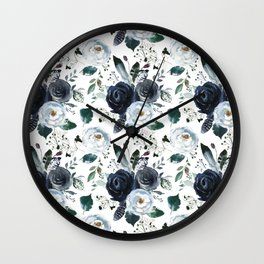 Watercolor navy blue elegant white bohemian floral Wall Clock
