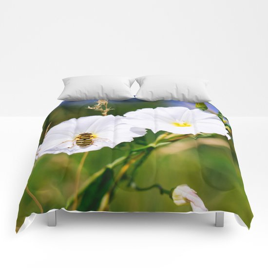 Wasp On A Flower Comforters