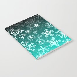 Symbols in Snowflakes on Winter Green Notebook