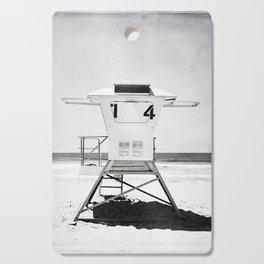 Black and White Beach Photography, Grey Lifeguard Stand, Gray Coastal Nautical Art Cutting Board