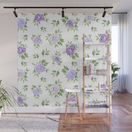 Hand painted lavender violet green watercolor floral Wall Mural