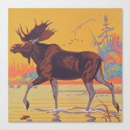 Moose Walking Through Creek Vintage Art Canvas Print