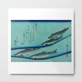 "Utagawa Hiroshige (Ando) ""School of Five Seat Trout 1835"" Metal Print"