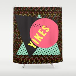Memphis Throwback Retro 1990s 90s Trendy Hipster Pattern Mint Black Shower Curtain