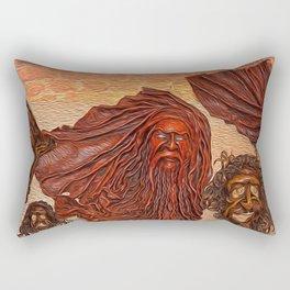 Wooden Masks Rectangular Pillow