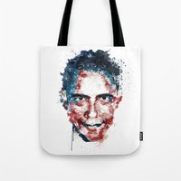 obama Tote Bags featuring Obama by I AM DIMITRI