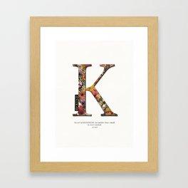 Floral letter K - Be KIND label text, Lo Lah Studio Framed Art Print