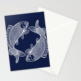 Navy Blue Koi Stationery Cards