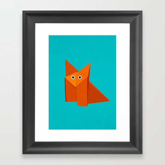 Cute Origami Fox Framed Art Print