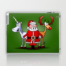 Santa Claus, his reindeer and a unicorn Laptop & iPad Skin