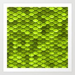 Beautiful Key Lime green mermaid fish Scales Art Print