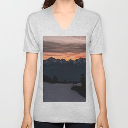 Rising Sun in the Cascades - nature photography Unisex V-Neck
