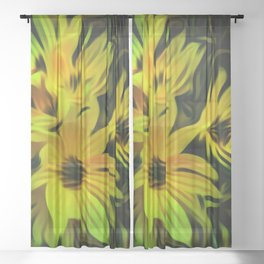 Abstract Yellow Flower Image Sheer Curtain