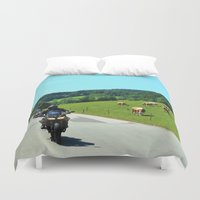 motorbike Duvet Covers featuring On the Motorbike trough AUSTRIA 01 by MehrFarbeimLeben
