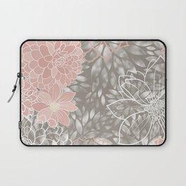 Floral Pattern Dahlias, Blush Pink, Gray, White Laptop Sleeve