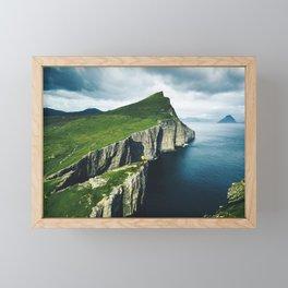 on top of faroe islands Framed Mini Art Print