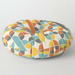 1970s Colors Mid Century Modern Geometric Pattern  Floor Pillow