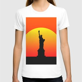 Sunset and Statue of Liberty in New York T-shirt