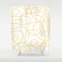 Doodle Line Art | Yellow Lines on White Background Shower Curtain
