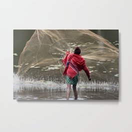 Net Fishing Metal Print