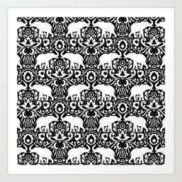 Elephant Damask Black and White Art Print