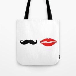 She & He: lips ad moustache Tote Bag