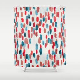 Watercolor Ovals - Red, Blue & Cream Shower Curtain
