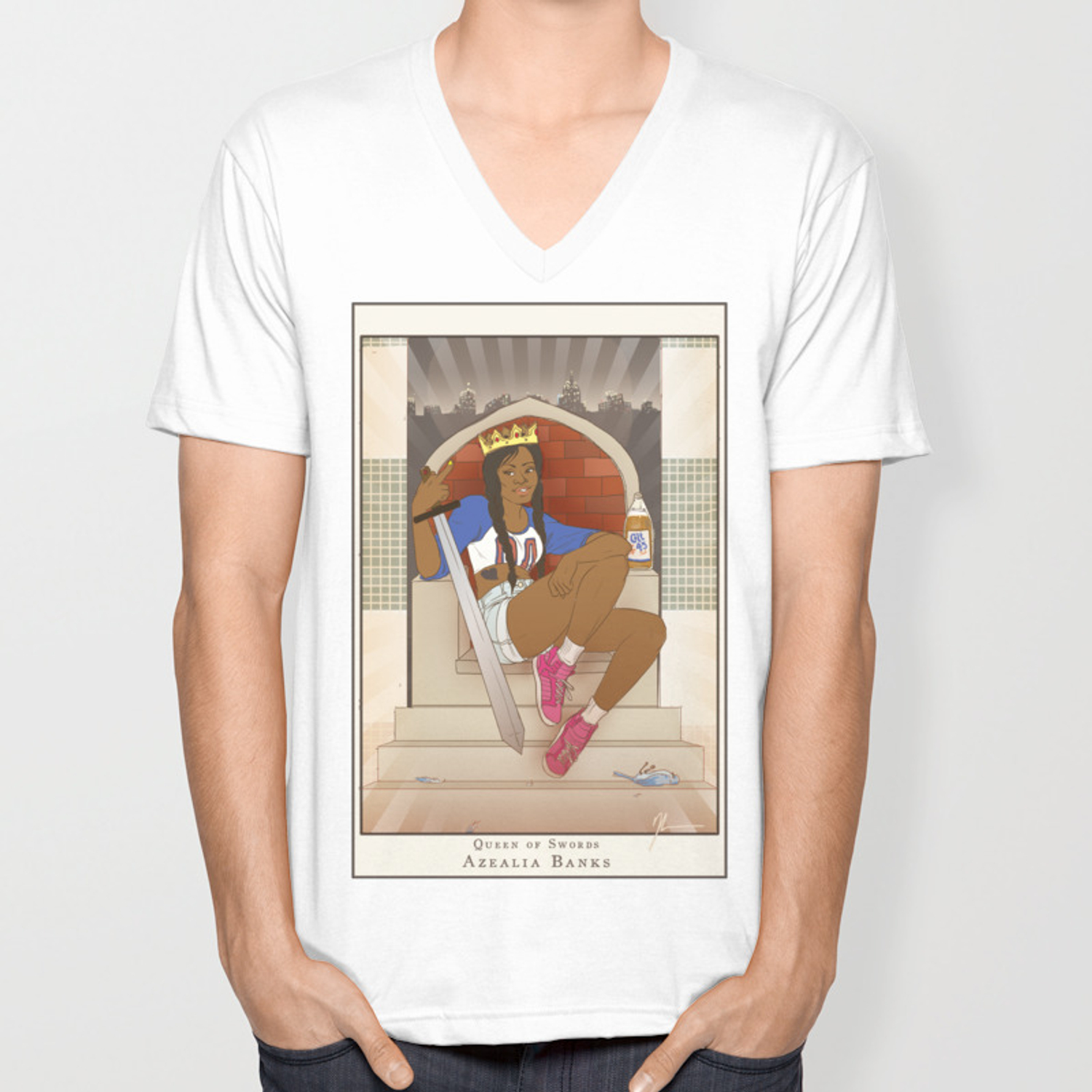 Queen of Swords - Azealia Banks Unisex V-Neck by kendrawcandraw