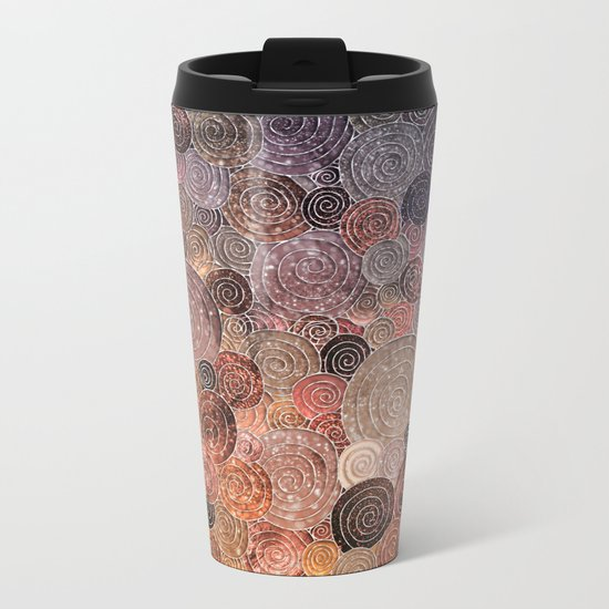 Abstract brown glamour glitter circles and dots for Girls and ladies Metal Travel Mug