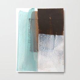 Colorblock Abstract Painting Aqua Brown White Metal Print
