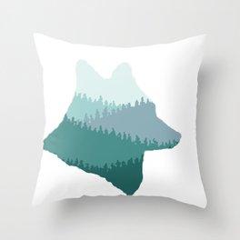 Wolf Mountains (Blue) Throw Pillow